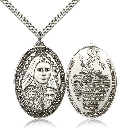 Large St. Therese Pendant - Sterling Silver