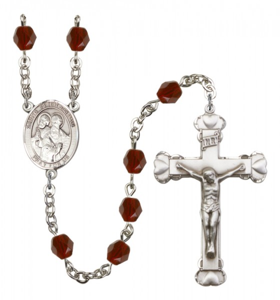 Women's Sts. Peter & Paul Birthstone Rosary - Garnet