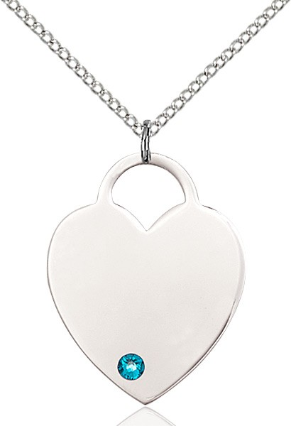 Large Women's Heart Pendant with Birthstone Options - Zircon