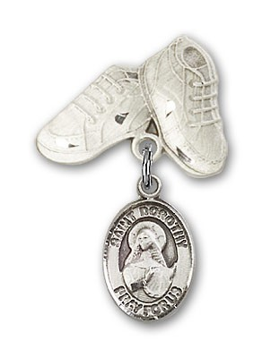 Pin Badge with St. Dorothy Charm and Baby Boots Pin - Silver tone