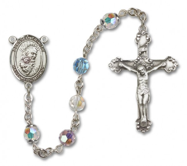 Blessed Trinity Sterling Silver Heirloom Rosary Fancy Crucifix - Multi-Color