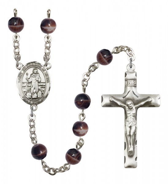 Men's St. Bernadine of Sienna Silver Plated Rosary - Brown