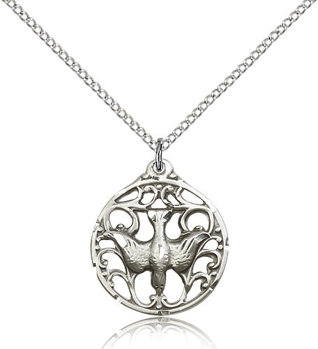 Women's Round Holy Spirit Cut Out Medal - Sterling Silver