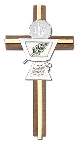 First Communion Chalice and Holy Host Wall Cross in Walnut Wood and Metal Inlay - 6 inch - Two-Tone Gold