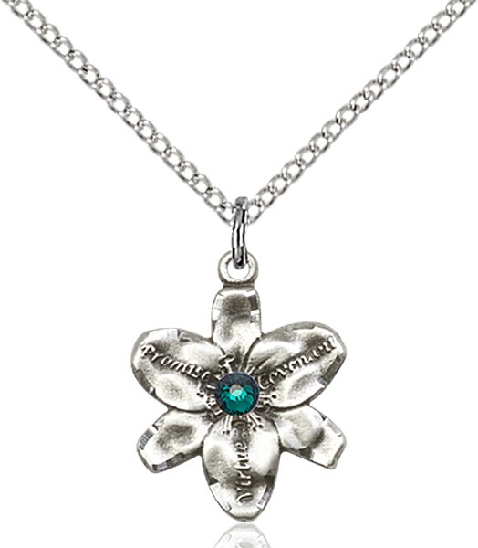 Small Five Petal Chastity Pendant with Birthstone Center - Emerald Green