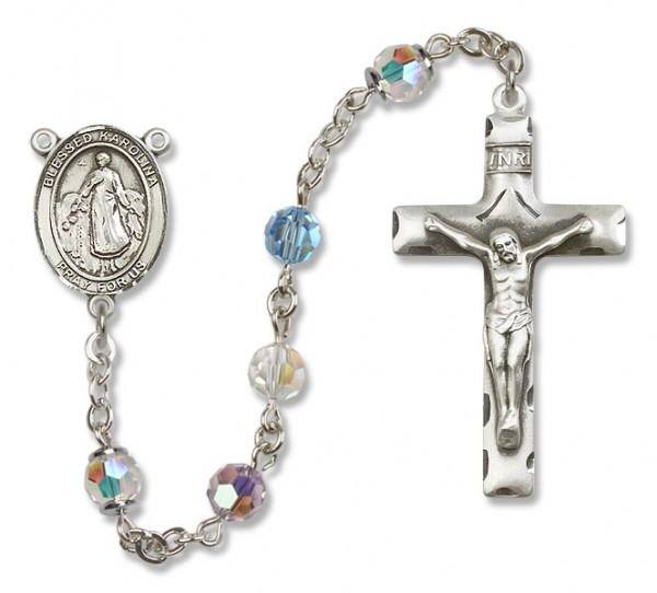 Blessed Karolina Kozkowna Sterling Silver Heirloom Rosary Squared Crucifix - Multi-Color