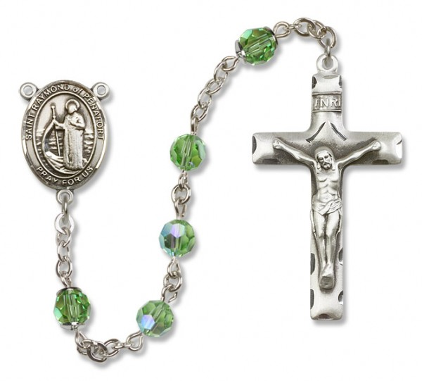 Raymond of Penafort Sterling Silver Heirloom Rosary Squared Crucifix - Peridot