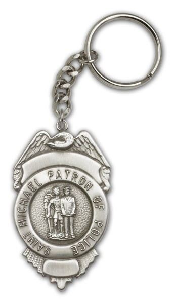 St. Michael Patron of Police Key Chain - Antique Silver