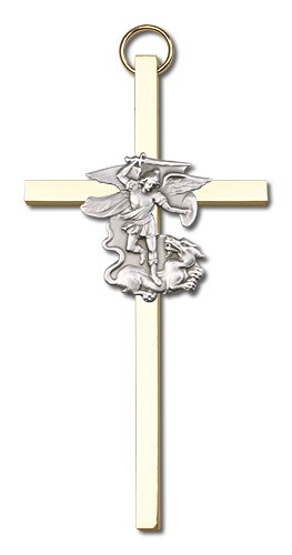 "St. Michael Wall Cross 4"" - Two-Tone Gold"
