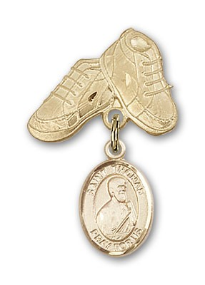 Pin Badge with St. Thomas the Apostle Charm and Baby Boots Pin - Gold Tone