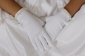 First Communion Gloves with Sequin Accents - White