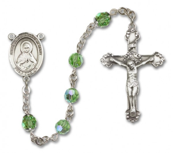 Immaculate Heart of Mary Sterling Silver Heirloom Rosary Fancy Crucifix - Peridot