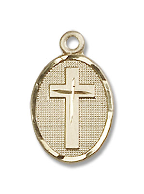 Oval Pendant with Cross Center Necklace - 14K Solid Gold