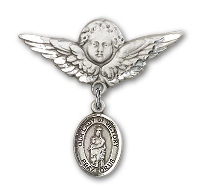 Pin Badge with Our Lady of Victory Charm and Angel with Larger Wings Badge Pin - Silver tone