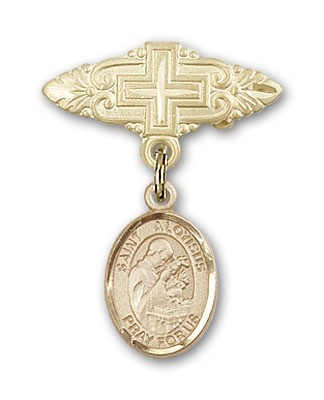 Pin Badge with St. Aloysius Gonzaga Charm and Badge Pin with Cross - Gold Tone