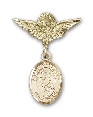 Pin Badge with St. Margaret Mary Alacoque Charm and Angel with Smaller Wings Badge Pin - Gold Tone