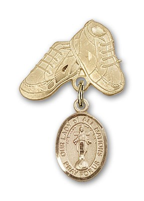 Baby Badge with Our Lady of All Nations Charm and Baby Boots Pin - Gold Tone