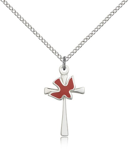 Cross with Holy Spirit Pendant - Sterling Silver