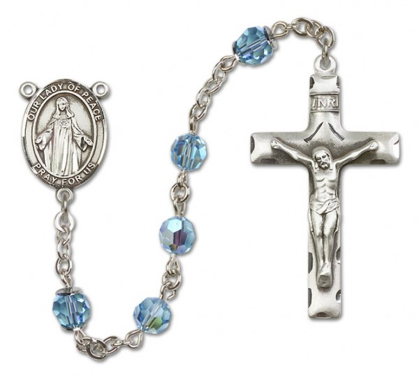 Our Lady of Peace Sterling Silver Heirloom Rosary Squared Crucifix - Aqua