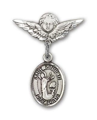 Pin Badge with St. Kenneth Charm and Angel with Smaller Wings Badge Pin - Silver tone