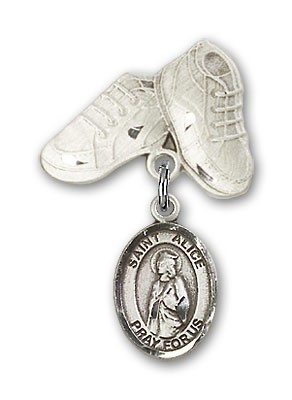 Pin Badge with St. Alice Charm and Baby Boots Pin - Silver tone