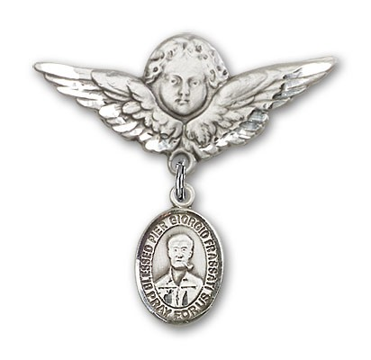 Pin Badge with Blessed Pier Giorgio Frassati Charm and Angel with Larger Wings Badge Pin - Silver tone