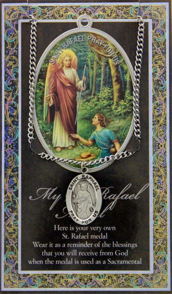 St. Raphael Medal in Pewter with Bi-Fold Prayer Card - Silver tone