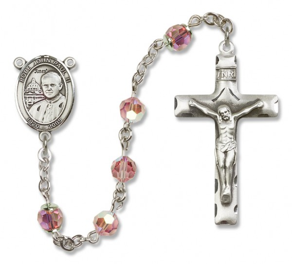 Pope John Paul II Sterling Silver Heirloom Rosary Squared Crucifix - Light Rose