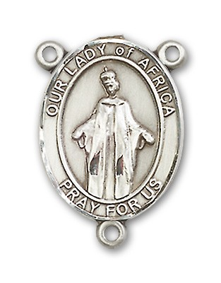 Our Lady of Africa Rosary Centerpiece Sterling Silver or Pewter - Sterling Silver