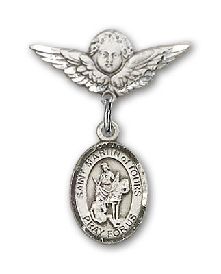 Pin Badge with St. Martin of Tours Charm and Angel with Smaller Wings Badge Pin - Silver tone