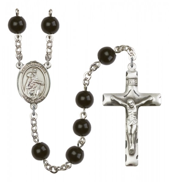 Men's St. Isabella of Portugal Silver Plated Rosary - Black