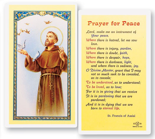 St. Francis, Prayer For Peace Laminated Prayer Cards 25 Pack - Full Color