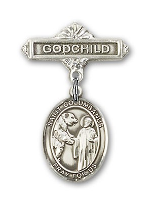 Pin Badge with St. Columbanus Charm and Godchild Badge Pin - Silver tone