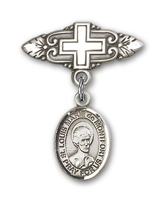 Pin Badge with St. Louis Marie de Montfort Charm and Badge Pin with Cross - Silver tone