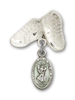 Pin Badge with St. Christopher Charm and Baby Boots Pin - Sterling Silver | Blue Enamel