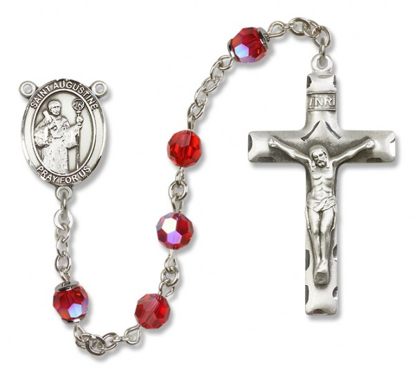 St. Augustine Rosary Heirloom Squared Crucifix - Ruby Red