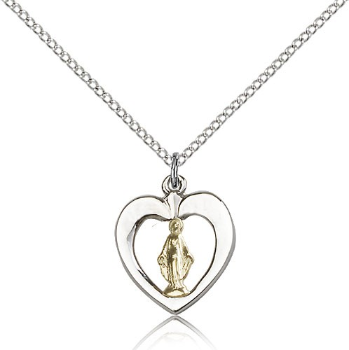 Two-Tone Open-Cut Heart Miraculous Medal Necklace - Two-Tone Gold