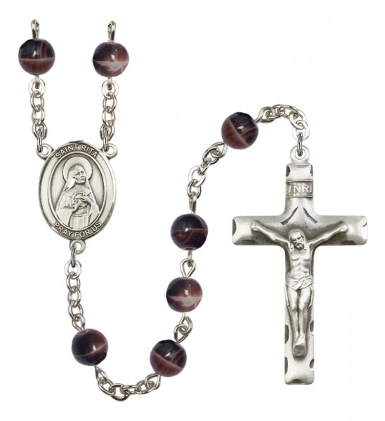 Men's St. Rita of Cascia Silver Plated Rosary - Brown