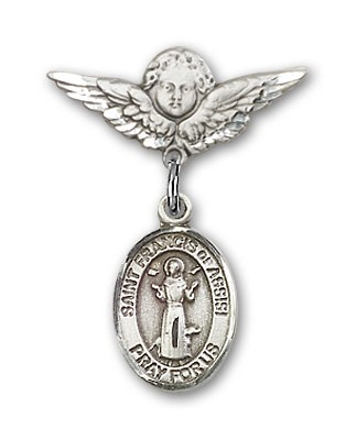 Pin Badge with St. Francis of Assisi Charm and Angel with Smaller Wings Badge Pin - Silver tone