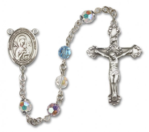 Our Lady of Perpetual Help Sterling Silver Heirloom Rosary Fancy Crucifix - Multi-Color
