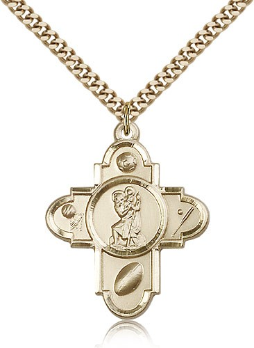 St. Christopher Sports 5-Way Medal - 14KT Gold Filled