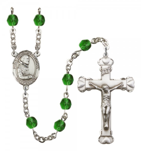 Women's St. Pio of Pietrelcina Birthstone Rosary - Emerald Green