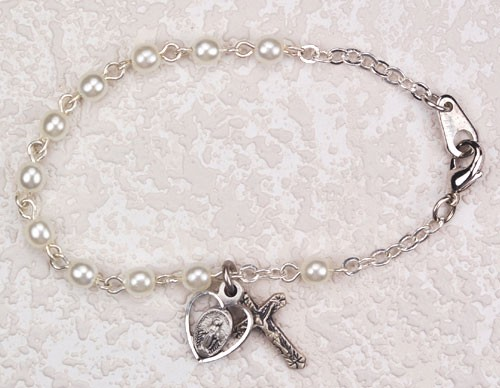 Bracelet with Glass Pearl Beads - Pearl White