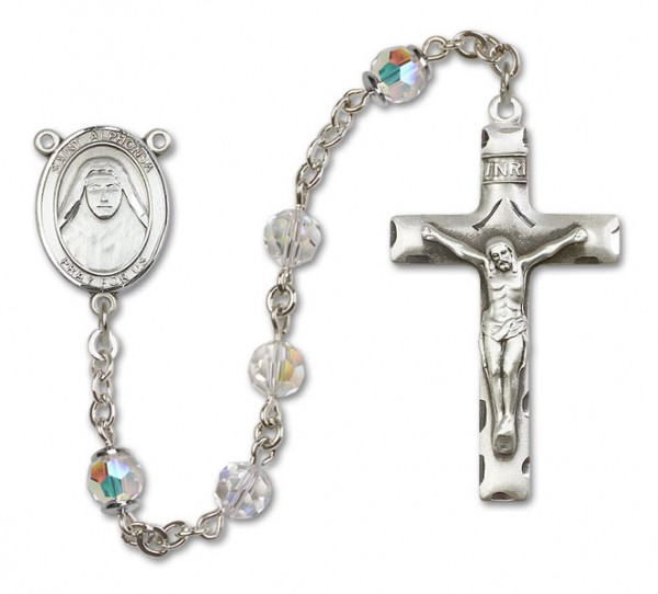 St. Alphonsa Rosary Heirloom Squared Crucifix - Crystal