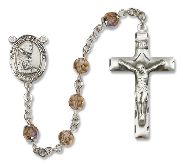 St. Pio of Pietrelcina Sterling Silver Heirloom Rosary Squared Crucifix - Topaz