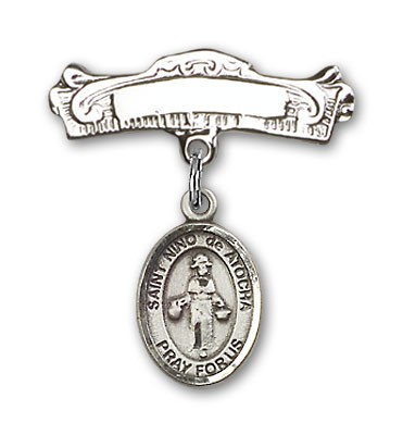 Pin Badge with St. Nino de Atocha Charm and Arched Polished Engravable Badge Pin - Silver tone