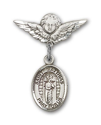 Pin Badge with St. Matthias the Apostle Charm and Angel with Smaller Wings Badge Pin - Silver tone