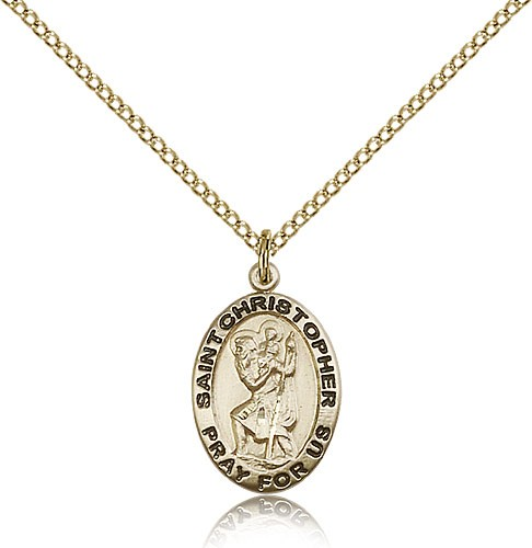 Women's Oval St. Christopher Pray For Us Necklace - 14KT Gold Filled