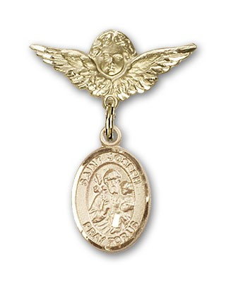 Pin Badge with St. Joseph Charm and Angel with Smaller Wings Badge Pin - 14K Yellow Gold