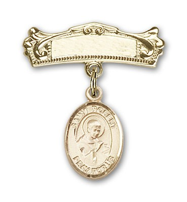 Pin Badge with St. Robert Bellarmine Charm and Arched Polished Engravable Badge Pin - Gold Tone
